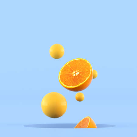 Minimal conceptual idea of sliced oranges and small yellow sphere floating out from hole on blue background. 3D rendering.