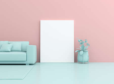 3d surreal render of white blank canvas and sofa on pastel background. Mock up scene. Foto de archivo
