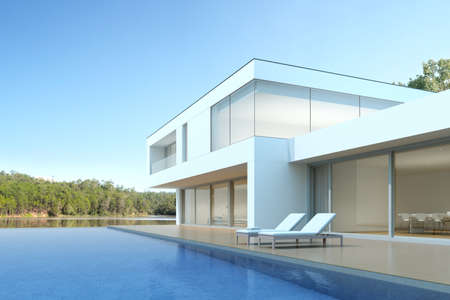 3D render of white modern house with swimming pool on lake background, Exterior with large window design.