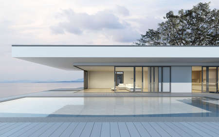 Perspective of modern house with swimming pool on sea background, Exterior. 3d rendering Stockfoto