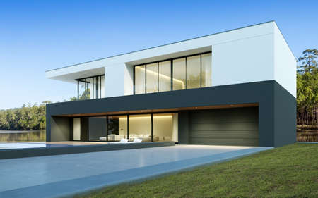 Perspective of black and white modern luxury house with green lawn yard on tree background, Idea of minimal architecture with garage door. 3D rendering