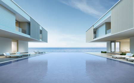 Perspective of modern house with swimming pool on sea background, Exterior. 3d rendering Archivio Fotografico