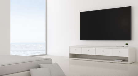 3D rendering of modern living room with TV screen and sofa. Archivio Fotografico