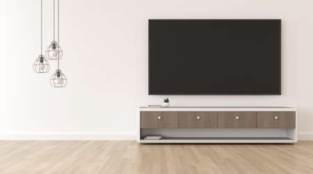 3D rendering of modern living room with TV screen and cabinet.