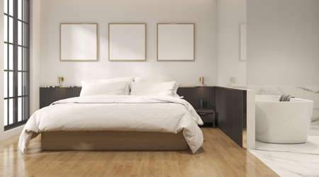3D rendering of modern bedroom with blank picture frame on wall.
