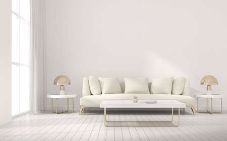 3d render of modern living room with sofa and wooden floor.