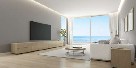 3D rendering of modern living room with TV screen and sofa on sea background.