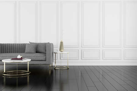 3D render of room with wooden floor and classic wall with sofa. Stock fotó