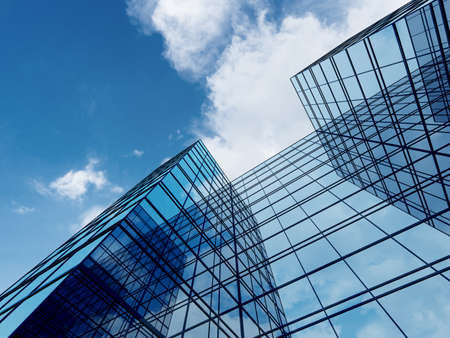 3D render of futuristic architecture, Skyscraper building with glass window.