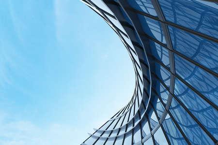 3D render of futuristic architecture, Skyscraper building with curve glass window.