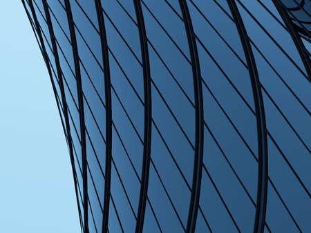 3D render of futuristic architecture, Skyscraper building with curve glass window. Imagens