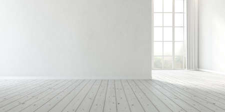 3d rendering of modern empty room with large plain wall and wooden floor. Reklamní fotografie