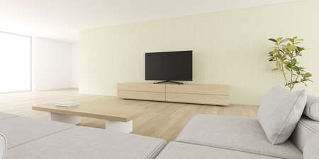 3D rendering of modern living room with sofa and TV screen on wall. Banco de Imagens