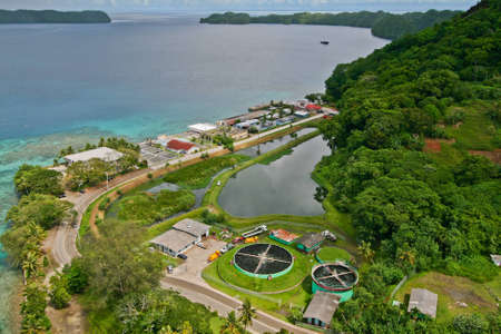 bird eye view: Top view of Koror City, Republic of Palau Stock Photo