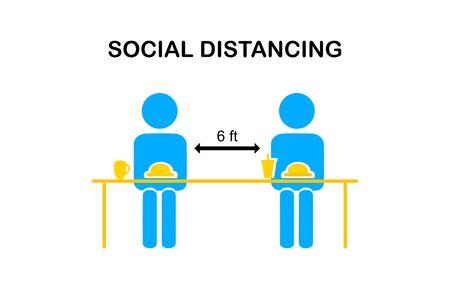 Concept de restaurant et de distanciation sociale. Personnes assises dans un restaurant mangeant de la nourriture avec des sièges à table à la cantine. Sièges alternatifs dans les aires de restauration publiques locales. Mesures de sécurité. icône de la ligne.
