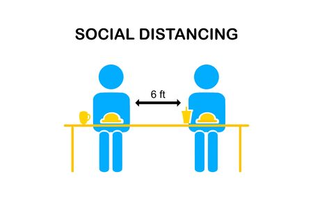 Restaurant and social distancing concept.People sitting in restaurant eating food with table seating arrangements in Canteen.Alternate seating in local public food courts.safety measures. line icon.