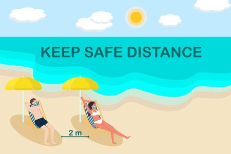 Social distancing background.Asian couple man and woman wear face mask sitting sunbeds on the beach, keep distance between chairs and umbrella.Coronavirus protection and prevention.New normal vector Ilustração