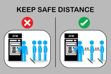 Icon New normal and Social distancing.People keep distance queue and waiting in line near atm machine.Prevention of the spread of coronavirus infection COVID 19.Sign and symbol vector illustration.