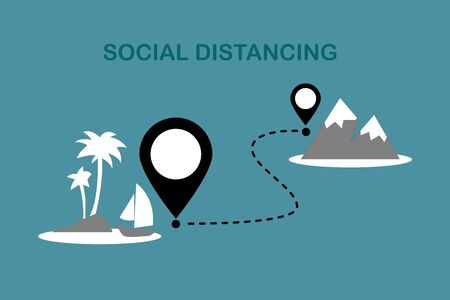 Icon New normal social distancing. Airplane flying to beach and mountain.People love travel.Summer vacation and business travel concept.Keep Safe Distance.Flat Sign and symbol vector illustration.