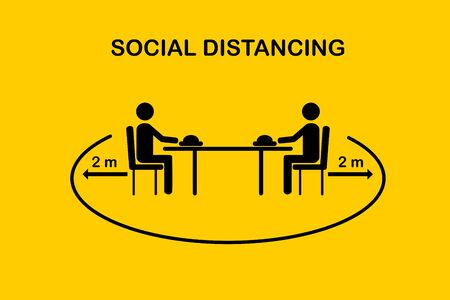 Restaurant and social distancing concept.People sitting in restaurant eating food with table seating arrangements in Canteen.Keep Safe Distance 2 meter.New normal icon vector.Flat Sign and symbol.