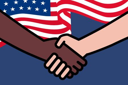 4th of July with USA flag.Black Lives Matter. Two hands holding or handshake.Protest Banner about Human Right of Black People in U.S. America. Vector Illustration. Icon Poster for printed matter. Stock Illustratie