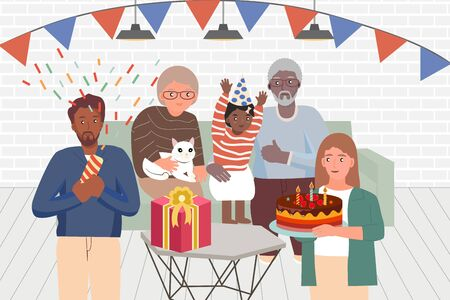 Happy Birhtday Family all ages  concept.Organize a party in the home. Mother holding cake.Grandmother held a cat.Father fireworks.Grandfather hugs girl.Kid smiling.New normal Flat Vector Illustration.