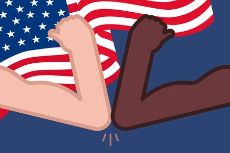 4th of July with USA flag.Black Lives Matter.Social distancing elbow bump.Protest Banner about Human Right of Black People in U.S. America. Vector Illustration. Icon Poster for printed matter.