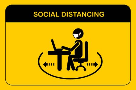Social distancing workplace concept.People sitting when meeting in the office.A man and a woman in medical masks maintain a social distance at work.New normal icon vector.Sign and symbol Illustration.