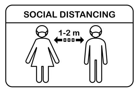 Social Distancing Concept.People standing Keep Safe Distance 1 or 2 meter.Man and woman wearing a protective medical mask for prevent corona virus.Line vector icon sign symbol and illustration.