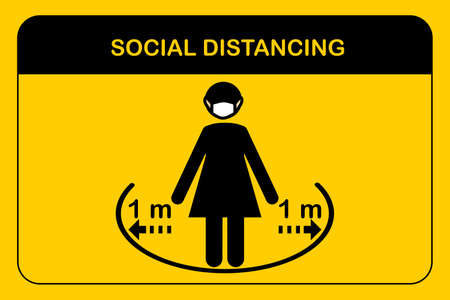 Icon vector people standing Keep Safe Distance 1 meter.Woman wearing a protective medical mask for prevent corona virus.New normal Concept.Human to protect from corona virus concept.Sign and symbol.