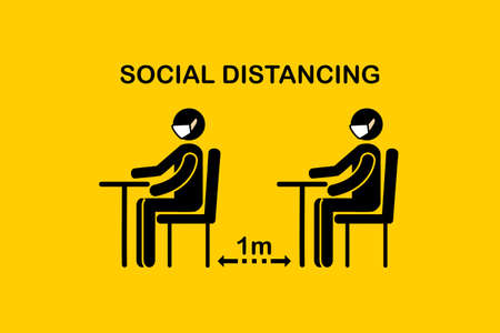 Sign symbol icon vector. People sitting on chair keep safe distance queue 1 meter in office or restaurant. New normal and Social distancing concept.Man and a woman in medical masks protection from corona