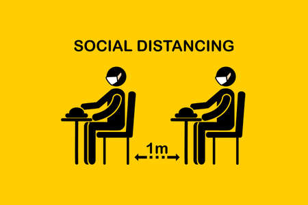Restaurant and social distancing concept. People sitting in restaurant eating food with 1 meter apart table seating arrangements in Canteen. Alternate seating in local public food courts. safety measures. line icon.