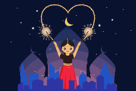 Happy children on Diwali illustration.Beautiful indian girl drawing heart firecracker celebrating Deepavali in city.The church is decorated with lamp lights in night day. vecter flat icon background.