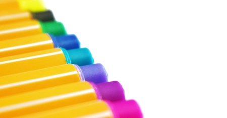 Colorful lecture pen on white background