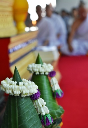 Flower cone with jusmine garland for Buddhist ordained ceremony to enter the monkhood