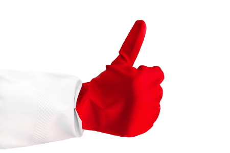 Closeup view hand wearing a red rubber glove is giving thumb up of one hand making like gesture. as sign of success or approval isolated on white background. Horizontal color photography. sign like
