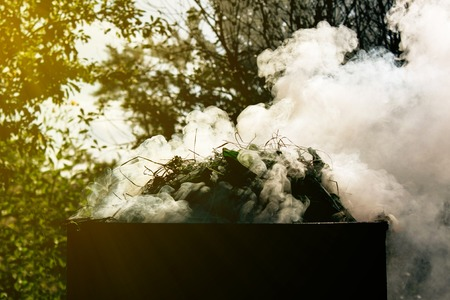smoke pulls out of the barrel when grass is burned in the garden, beautifully tinted, in the sun's rays