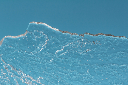 piece of thin structural ice opposite the blue sky, the concept of melting ice, climate drowning