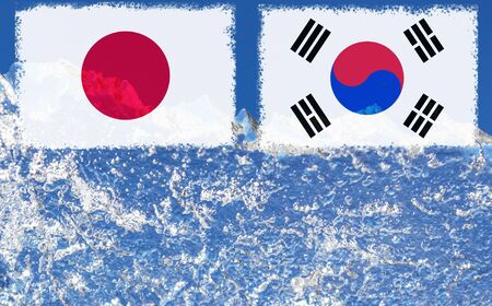the flag of Japan and South Korea are painted at opposite end of piece of ice in the form of an arctic iceberg against blue sky.