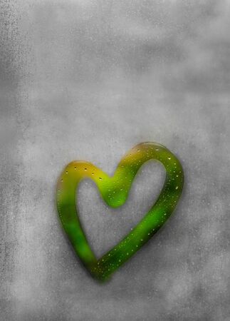 Green heart painted on sweaty glass, there are many drops on it, inscription heart and love on a wet autumn foggy glass. nature protection, Greenpeace concept with copy space for text Stock fotó