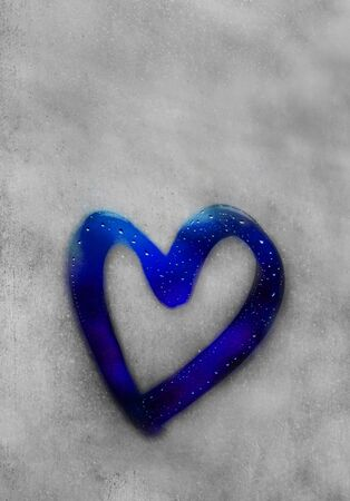 heart outline painted on sweaty glass, there are many drops on it, blue inscription heart and love handmade on a wet autumn foggy glass. valentines day concept with copy space for text