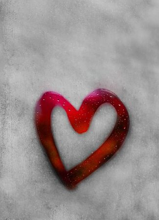 Red heart outline painted on sweaty glass, there are many drops on it, inscription heart and love using handmade on a wet autumn foggy glass. valentines day concept with copy space for text