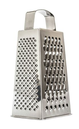 shiny metal new grater isolated on white background, close-up cheese and food stainless grater