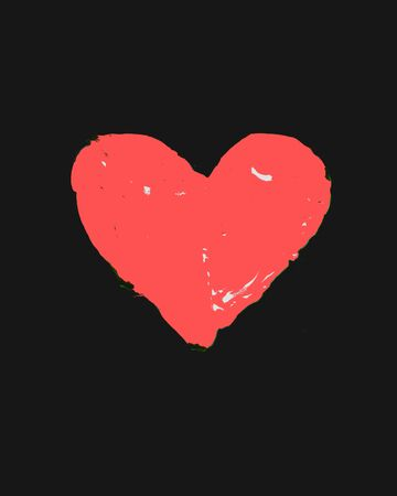 Pink heart painted on a black background, Valentine's Day love card. Romantic scene. Passion Composition