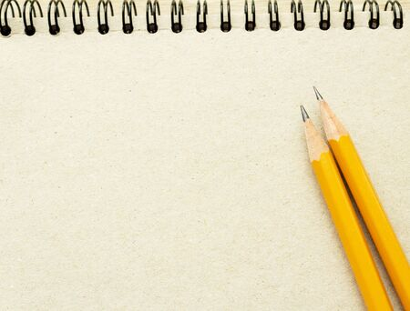 two pencils on the empty page of a reporters book journal with springs in the sun Mock-up Copy space