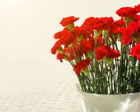 Bouquet of red carnations in a plastic vase. Sale on the street during the May 9 holiday of Russia with sunshine. Greeting card for the Victory Day on May 9, horizontal frame. Dianthus caryophyllus