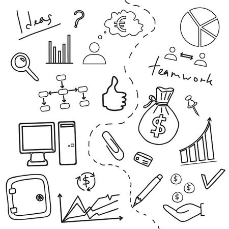 doddle: Sketch of business doddle elements Illustration