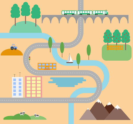 brige: country road in flat design style