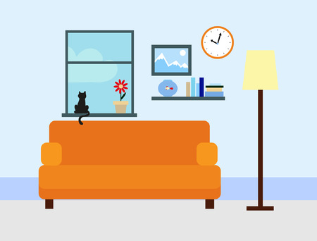 interior window: Sitting room in flat style Illustration