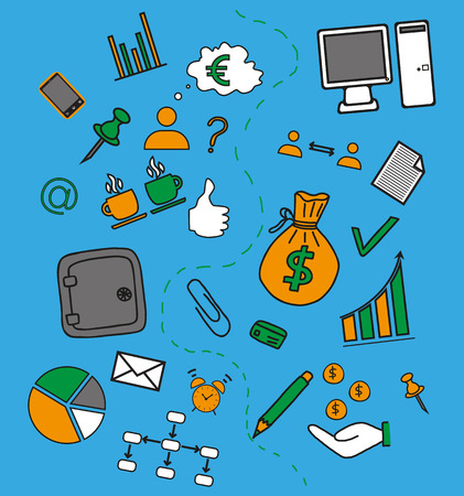 doddle: Business doddle elements in bright colors Illustration